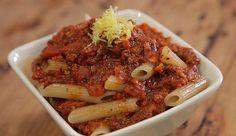 Quick Tomato Pasta Sauce with Pasta - Good Chef Bad Chef