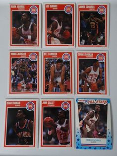 1989-90 Fleer Detroit Pistons Team Set Of 9 Basketball Cards #DetroitPistons