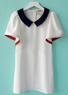 Beige Solid Lapel Short Sleeve Ruffles Chiffon Dress