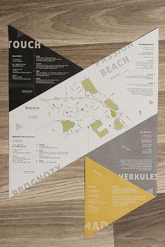 Bialystok clubs - folding leaflet by Michał Kulesza, via Behance Brochure Folds, Corporate Brochure Design, Creative Brochure, Brochure Layout, Brochure Template, Magazine Layout Design, Book Design Layout, Map Design, Flyer Design