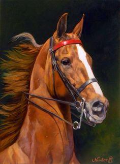 imagenes-de-pinturas-de-hermosos-caballos-en-arte-realista.Pintora Jeanne Newton Schoborg, EE.UU