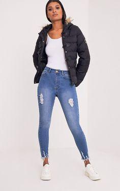 Mid Wash Cut Hem 5 Pocket Skinny Jean. OurletTenuesCuisse Noire Chaussettes  HautesJeans BleusJeans Pour FemmeSuper ... 4bbc573a5826