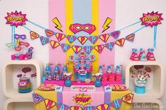 Superhero Girl Birthday Party Package Collection Set by LeeLaaLoo @ decorating-by-day