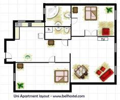 Uni Apartment Layout - www.bellhostel.com Apartment Layout, Uni, Floor Plans, Diagram, Modern, Trendy Tree, Floor Plan Drawing, House Floor Plans