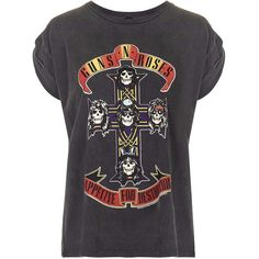 Guns And Roses Tour Tee By And Finally (465 ARS) ❤ liked on Polyvore featuring tops, t-shirts, shirts, blusas, black, logo shirts, black t shirt, black shirt, logo tee and black top