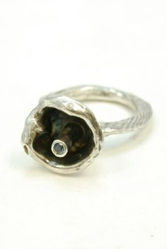 Aquamarine Dream- Sterling Silver Ring with 3 mm faceted Aquamarine set in a silver water casted cup