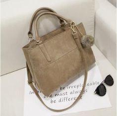 Nubuck Leather Top-Handle Cross body Bags