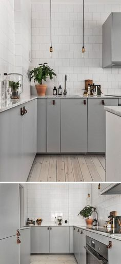 40 Gorgeous Grey Kitchens - Kitchen Design + Kitchen Decor Ideas - Home Sweet Home Kitchen Ikea, Grey Kitchen Cabinets, New Kitchen, Kitchen Interior, Kitchen Dining, Kitchen Decor, Kitchen Colors, Kitchen Wood, Kitchen Units