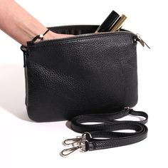 Italian Leather Cross Body Bag with 3 Compartments. 100% Leather.