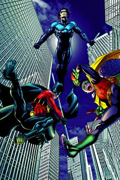 The boy wonders....Nightwing, Red Robin, Robin