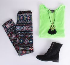 Deb Shops #tribal #leggings with a #neon top