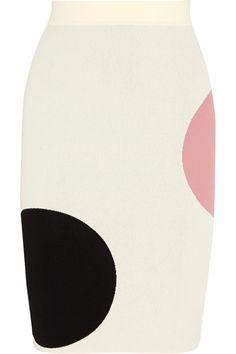Alexander McQueen|Polka dot-intarsia stretch-knit pencil skirt|NET-A-PORTER.COM