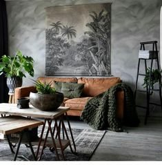 10 Beautiful Rooms – Mad About The House: brown leather sofa and plants in the h… - Decoration, Room Decoration, Decoration Appartement, Home Decor, Bedroom Decor Living Room Sofa, Living Room Interior, Living Room Decor, Living Room Ideas Dark Couch, Earthy Living Room, Dining Room, Room Color Schemes, Room Colors, Colours