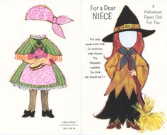 Halloween Paper Doll Cards - Witch for Niece   ☀CQ #paper #halloween #paperdolls #printables #digitals #templates #crafts #how-to #DIY
