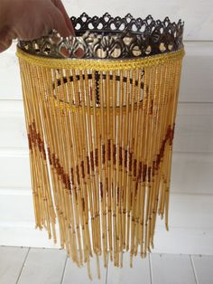 VINTAGE ART DECO STYLE GLASS BEADED TWO TIER CHANDELIER/LAMP SHADE