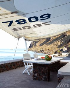 LOVE the awning and the rock table and ample seating