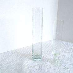 Vintage Clear Glass Etched Bud Vases Wedding Decor Centerpiece Supplies by…