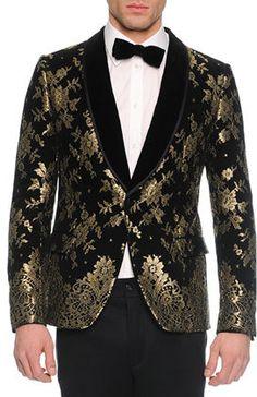 Dolce & Gabbana Chantilly Lace Velvet Evening Jacket, Black/Gold