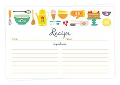 Set of 15, 30, or 50 Recipe Cards - Double Sided - Kitchen Theme Retro Design - 4x6 - High Quality Linen Cardstock