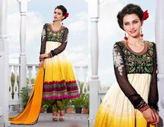 Yellow and Black Salwar Kameez aetb10236 Price: 115 USD Beautiful Yellow and Black Bhagalpuri Salwar Kameez embellished with Zari, resham embroidery and patch patta work.   Salwar Kameez comes with Mehandi Green santoon bottom and Yellow chiffon dupatta. This Unstitched Suit Fabric has maximum bust size of 42 inches.  For customized please submit your measurement at info@auraexclusive.com