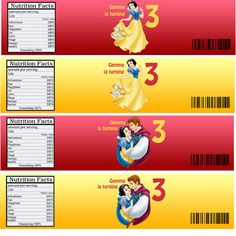Personalized Snow white Birthday party Water bottle label. $5.00, via Etsy.