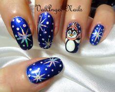 ValAngel Nails snowflake PENGUIN #nail #nails #nailart