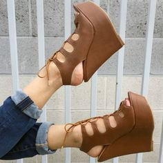 These super cute faux leather lace-up wedges feature a single front strap and flat wedge with espadrille trim. Moreover, heel height: Finally, material is synthetic. Pink Wedges, Flat Wedges, Lace Up Wedges, High Heels, Shoes Heels, Stunning Women, Fashion Heels, Types Of Shoes, Leather And Lace