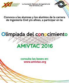 Participa y gana en la OLIMPIADA del Conocimiento a celebrarse en la XXI Reunión Nacional de Ingeniería de Vías Terrestres, en la ciudad de Puerto Vallarta, Jal. del 6-9 de julio de 2016.