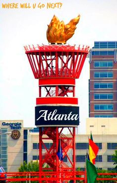 Olympic Monument in Atlanta, Georgia--very close to another Atlanta landmark, The Varsity Drive In. it's at the edge of the Varsity's parking lot. Georgia Girls, Georgia Usa, Georgia On My Mind, Atlanta Georgia, Atlanta Usa, Atlanta Homes, Visit Atlanta, Atlanta Olympics, Georgie