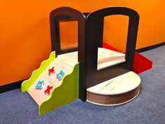 """Toddler Climb-n-Play. One side is a mini climbing wall, other side is a slide. the back is a window with Lexan, and the font is a perfect sized step with lots of room for beginner crawler/walkers to refine their skills. Tower alone is 30""""W x 26"""" D x 36""""T. Platform is 12"""" high. CPSIA Compliant, #kids #toddler #infant"""