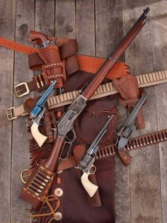 Old West guns Guns And Ammo, Weapons Guns, Rifle Winchester, Cowboy Action Shooting, Lever Action Rifles, Gun Holster, Holsters, The Lone Ranger, Hunting Guns