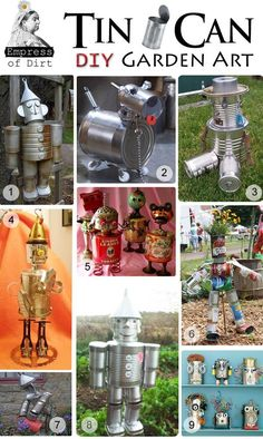 Tin Can Garden Art DIY. I'm definitely not a yard/junk art person but is way cute! Reminds me of the Tin Man from Oz! Tin Can Crafts, Metal Crafts, Recycled Crafts, Fun Crafts, Recycled Garden Art, Recycled Art Projects, Recycled Clothing, Recycled Fashion, Tin Can Man