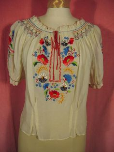 1940s Embroidered Peasant Blouse at Robin Clayton Vintage