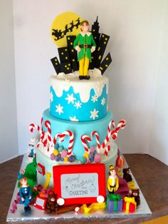 Elf Movie Christmas Cake- I can make a Santa instead of Elf and have cuter elves