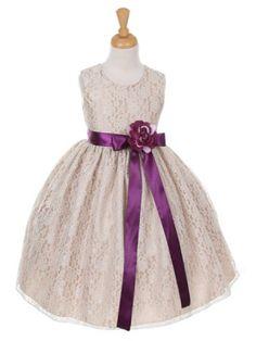 Champagne Pick Your Ribbon Sash Elegant Lace Flower Girl Dress (Sizes 2-14 in 9 Colors) - Flower Girl Dresses - GIRLS