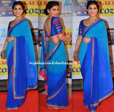 In a vibrant blue Nachiket Barve sari, Pallavi posed for the photogs at the recent Awards night. An updo, minimal jewelry and a metallic clutch finished out her look. You like? P.S: We've seen the plain sari-striped blouse look on Pallavi before. Remember this? Pallavi Sharda At Zee Cine Awards 2014 Photo Credit: Viral Bhayani …
