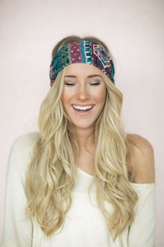 A colorful turban headband is the perfect hair accessory for summer.