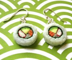 Cool Sushi Earrings! elliott would be trying to eat my ears