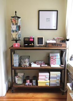 Cute organizing bins and display stuff - probably better for a shop, but cute idea!