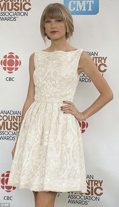 You looks absolutely angelic in your gorgeous little dress! Taylor... :-) #TaylorSwift #fashion and #music  The most ladylike star in pop! Taylor Swift looks heavenly in embroidered dress as she accepts country music award