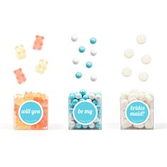 "Will You Be My Bridesmaid? | Sugarfina      ""Will you"" - 3.5oz Champagne Bears     ""Be My"" - 3.5oz Sugarfina Pearls     ""Bridesmaid?"" - 3.5oz Champagne Bubbles (or choose ""Maid of Honor"" or ""Matron of Honor"")"