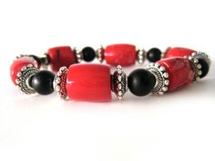 Red bamboo coral beaded stretch bracelet by Rock & Hardware Jewelry