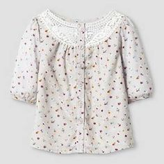 Baby Girls' Floral Dobby Top Button Down Shirt - Almond Cream 18M - Genuine Kids™ : Target