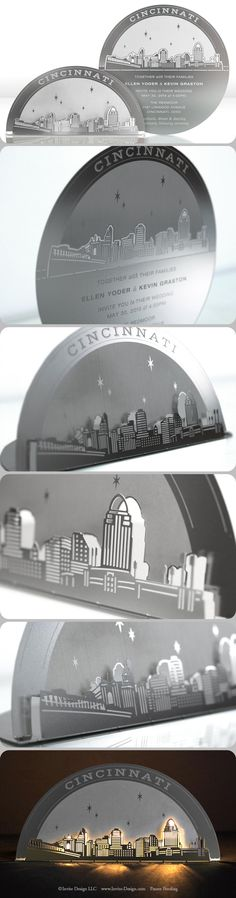 Cincinnati Skyline metal invitation mails flat, then converts to a tea light holder. It's eco-friendly because guests keep it, AND it doubles as a favor. http://www.invite-design.com/#!product/prd12/2202310645/cincinnati-skyline-invitation