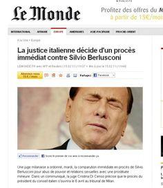 16/2/2011. Il rinvio a giudizio di Berlusconi per le note vicende di prostituzione e concussione occupa le prime pagine dei principali giornali stranieri.