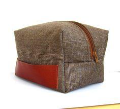 Men s Dopp Kit, toiletry bag, travel pouch in plaid wool.  58.00, via ab17098454
