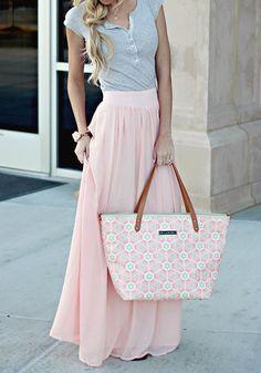 Pink Plain Pleated A Type Hot Selling Bohemian Floor Length Chiffon Skirt - Skirts - Bottoms