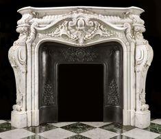 Rococo Baroque Antique Marble Fireplace | Westland London Marble Fireplace Surround, Marble Fireplaces, Fireplace Surrounds, Fireplace Design, Fire Surround, French Rococo, Rococo Style, Baroque, Stone Masonry