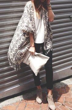 sweater, kimono and jeans, poncho, kimono with jeans, ankle boots, dress, long kimono, boho kimono, kimono style