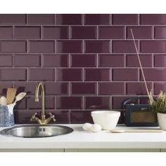 Metro Plum Wall Tile - Metro Wall Tiles from Tile Mountain Wall And Floor Tiles, Wall Tiles, Subway Tiles, Plum Walls, Wall Tile Adhesive, Purple Kitchen, Purple Interior, Metro Tiles, Brick Tiles